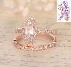 Marquise Morganite Engagement Ring Sets Pave Diamond Wedding 14K Rose Gold 5x10mm