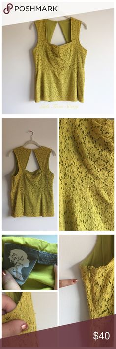 Lacey Peplum Top Beautiful yellow, almost light green Peplum top. Button in the back at the neck for a slight halter style. Non stretch. Side zipper. A few slight picks in the lace as seen in picture 3, but in great condition! Anthropologie Tops Blouses
