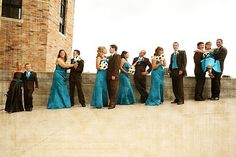 Teal and brown wedding. LOVE