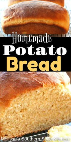 Treat the family to Homemade Potato Bread for sandwiches, toast, or warm slathered with butter as a side dish #potatobread #breadrecipes #homemadebread #southernrecipes #potaorecipes #sandwiches #breads
