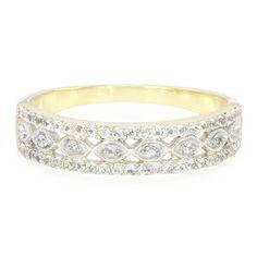 Alliance design romantique en or sertie de Saphirs blancs - Bijoux de mariage - Juwelo Bijouterie en Ligne