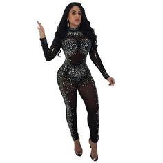 7b58c05b9817 Sparkling Crystal Sheer Mesh Sexy Jumpsuit