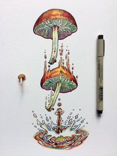 Mushroom Drawing, Mushroom Art, Art And Illustration, Illustrations, Trippy Drawings, Art Drawings, Psychedelic Drawings, Kunst Inspo, Art Inspo