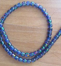 Cylinder glass beads colorful blue beads beading by beaderbeads, $3.25