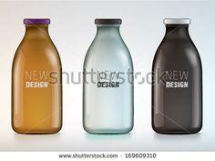 Glass Milk Bottles, News Design, Juice, Water Bottle, Personal Care, Stock Photos, Drinks, Mockup, Packaging