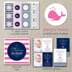 """LOVE THIS INVITATION FOR A BRIDAL SHOWER - FUN PINK AND NAVY, NAUTICAL, PREPPY, PLUS A SUBTLE """"TIE THE KNOT"""" REFERENCE!   #POLKADOTDESIGN #BRIDALSHOWER"""