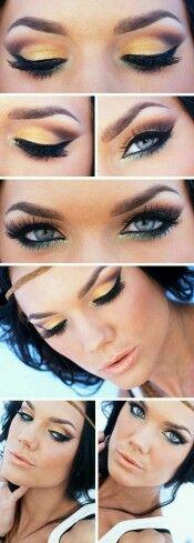 Greek goddess make up, gold green black                                                                                                                                                     More
