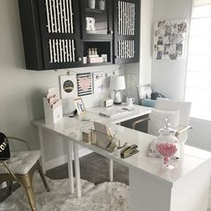 My new L shaped Ikea Desk Reveal Nice 43 Extraordinary Small Home Office Design Ideas With Traditional Themes. Ikea Office, Home Office Space, Home Office Desks, Small Office Spaces, Home Offices, Home Office White Desk, Small Bedroom Office, Small Office Decor, Bedroom Desk
