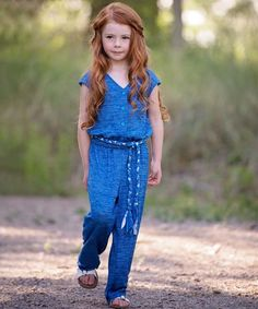 This Blue Farrah Jumpsuit - Kids & Tween by Persnickety Clothing is perfect! #zulilyfinds