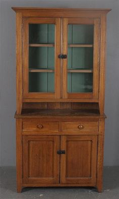 Oak Two Piece Stepback Cupboard with Glass Doors and Pie Shelf Inte Lot 5543 Primitive Cabinets, Old Cabinets, Primitive Furniture, Country Furniture, Antique Furniture, Cupboards, Antique Hutch, Hutch Cabinet, Wooden Cupboard