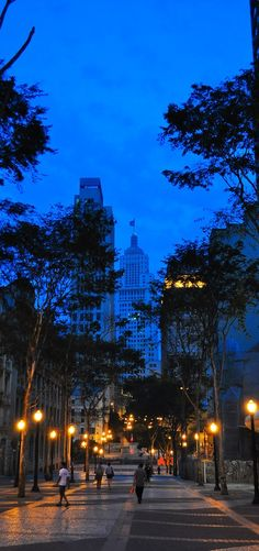 Edifício Altino Arantes (aka Banespa Building) at dusk viewed from São João Avenue, Sao Paulo - Brazil