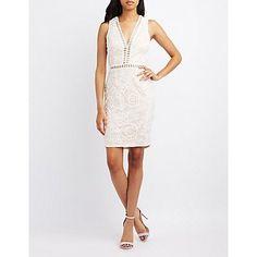 White Crochet Lace Bodycon Dress - Size