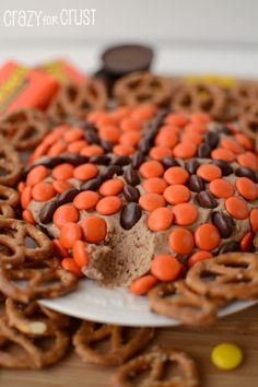 Reese's Basketball Dip by www.crazyforcrust.com | A sweet dip made with Reese's PB Cup and Reese's Pieces! #snackmadness