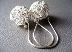 MIA3 Sterling Silver Earrings European design - short tangled ball drop