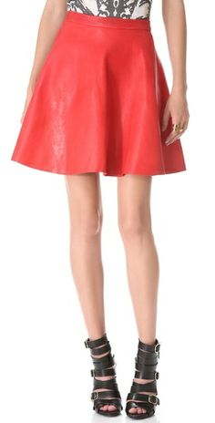 Ashlees Loves: Rouge info @ashleesloves.com #SallyLapointe #ALine #Leather #rouge #red #skirt #women's #designer #fashion #apparel #style