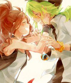 Touko and N - Happy couple. #PokemonBW #Ferriswheelshipping