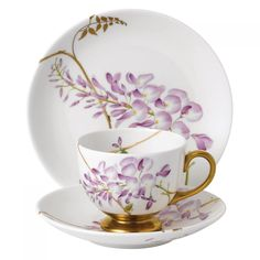 Gorgeous Wisteria Cup & Saucer is so beautiful China Cups And Saucers, Teapots And Cups, China Tea Cups, Teacups, Tea Cup Set, Tea Cup Saucer, Tea Sets, Vintage Cups, Vintage Tea