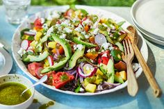Epic summer salad Perfect for BBQs and buffets, this is an assembly job of gorgeous ingredients – no cooking required. Serve it with lamb kebabs for an impressive summer feast Salad Recipes Video, Summer Salad Recipes, Salad Recipes For Dinner, Bbc Good Food Recipes, Healthy Salad Recipes, Summer Salads, Dessert Healthy, Summer Food, Meat Recipes
