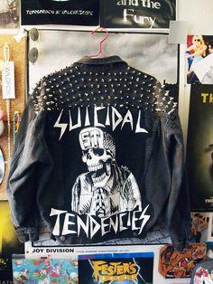 SUICIDAL TENDENCIES// Vintage Punk 1980s Black Denim Spiked, Studded, and Patched Jacket