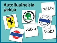 Tulostettavia autoiluaiheisia pelejä ryhmille: Tunnista automerkki -visa, autoiluaiheinen sanaselityspeli sekä Menopelibingo. Volvo, Nissan, Diy And Crafts, Bingo, Education, Games, Aphasia, Peda, Learning