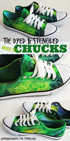 Apr 2018 - Hand Painted Tie Dyed and Stenciled Knock Off Chucks designed by Jennifer Priest using stencils from StencilGirl. sharpie tye dye t shirt How To Dye Shoes, How To Tie Dye, How To Dye Fabric, How To Paint Shoes, Dyed Shoes, Diy Tie Dye Shoes, Sharpie Shoes, Sharpie Tie Dye, Tye And Dye