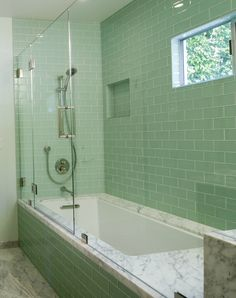 Gorgeous Green And White Themed Bathroom Features Polished Nickel - Green bathroom towels for small bathroom ideas