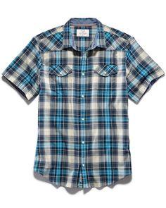 Shirts - EXETER SS SHIRT -  BLUE PLAID