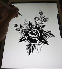 Drawing a big Blackwork floral . - Drawing a big Blackwork floral . Rose Tattoos For Men, Black Rose Tattoos, Tattoos For Guys, Tattoo Black, Traditional Tattoo Flowers, Traditional Roses, Traditional Tattoo Drawings, Traditional Black Tattoo, Kritzelei Tattoo