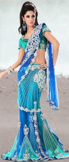 #Blue Net #Lehenga #Style #Saree With Blouse