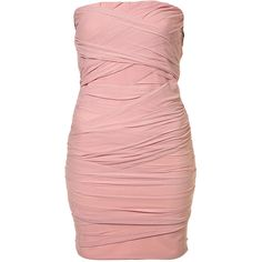 Ruched Bandeau Dress (5.275 RUB) ❤ liked on Polyvore featuring dresses, vestidos, vestiti, pink, bodycon dresses, pink bandage dress, red dress, pink ruched dress, bodycon bandage dress and ruching dress