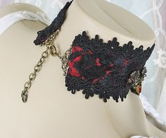 Red and Black Lace Victorian Choker Lace Gothic by LaVieilleLune