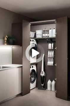 Modern Laundry Rooms, Laundry Room Layouts, Laundry Room Organization, Laundry In Bathroom, Küchen Design, House Design, Wall Design, Laundry Room Inspiration, Classic Living Room