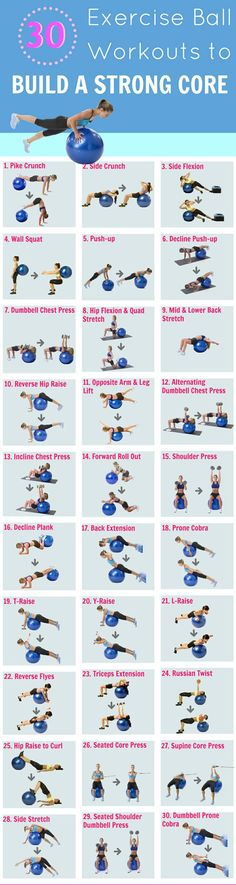 30 exercise ball workouts: A fitness ball is a must have for every home gym workout as they make exercises such as the crunch, butt bridge, push up, prone cobra more fun and challenging. A list of 30 stability ball exercises to get you started. Invite me to your fitness boards ! thanks ! Home Gyms http://amzn.to/2l56zQc