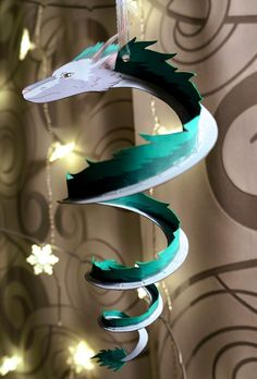 instructions on making a Haku (dragon form) papercraft from Spirited Away