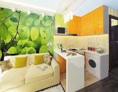 Дизайн интерьера красочной квартиры-студии 14 кв. метров