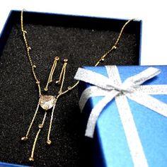 Haert-like Round Topaz Crystal with Gift Box Earring Tassel Necklace Set NS1690C