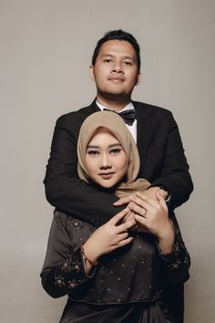 Elegant hijab studio prewedding photoshoot in black
