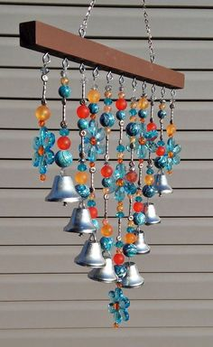 Beaded Wind chime / Sun catcher - Blue daisies and bells. Outdoor art or patio decoration. Glass Wind Chimes, Diy Wind Chimes, Homemade Wind Chimes, Crystal Wind Chimes, Garden Crafts, Garden Art, Big Garden, Terrace Garden, Crafts To Make
