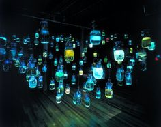 """massmoca:        FLASHBACK FRIDAY: Do you know who created these eerie jars of light for us, and when?      Update: Thanks for answering, as always! This piece is called """"Room of the Host"""" and is by artist Lim Young-Sun. It was featured in our 2000 exhibit """"Unnatural Science."""""""