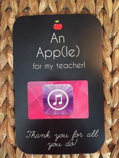 An App(le) for my teacher- Itunes  - Printable {Teacher  Appreciation Gift} Gift card holder