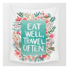 Eat Well, Travel Often Bouquet  Wall Tapestry (325 SEK) ❤ liked on Polyvore featuring home, home decor, wall art, wall tapestries, cat illustration, mounted wall art, cat wall art, outdoor wall art and home wall decor