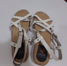 f3b2fee0bee Sunjuns G.H. Bass Co white strap sandals womens size 8.5 leatherflats  support  fashion  clothing