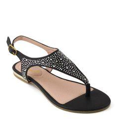 Look at this #zulilyfind! Black Rhinestone Adele Sandal by Anna Shoes #zulilyfinds