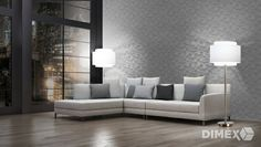 as creation titanium grey wallpaper Classic Wallpaper, Grey Wallpaper, Sofa, Couch, Modern Materials, Home And Living, Colours, Bedroom, Furniture