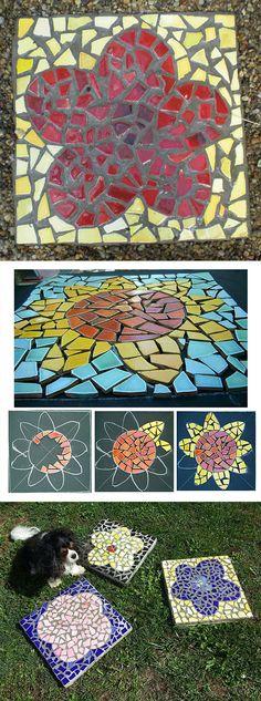 DIY Mosaic Stepping Stone Flower - Mosaik Japanische Trittsteine - Mosaique Pas Japonais - Made By Alea Mosaik (Diy Step Stones) Mosaic Stepping Stones, Stone Mosaic, Mosaic Glass, Mosaic Tiles, Mosaic Designs, Mosaic Patterns, Mosaic Pictures, Mosaic Madness, Mosaic Garden
