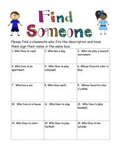 Free back to school find someone who game. Great for icebreakers the first few days and a great way for children to get to know each other (or reinforce) and their teacher.