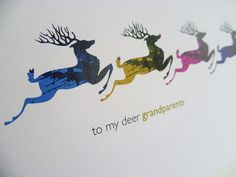 Deer Grandparents Christmas card by helloclacky on Etsy, £2.50