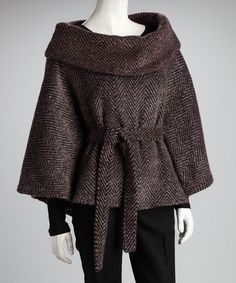 Take a look at this Brown Front Tie Cape Sleeve Jacket by Costa Blanca on @zulily today!  Thanks, Patricia!