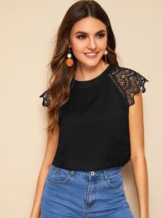 To find out about the Scallop Trim Lace Contrast Sleeve Blouse at SHEIN, part of our latest Blouses ready to shop online today! Lace Cuffs, Summer Blouses, Pulls, Types Of Sleeves, Fashion News, Ideias Fashion, Floral Tops, Clothes For Women, Victoria