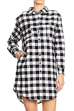 $19.99 Women's Boyfriend Style Plaid Checkered Flannel Tunic Shirt  100% Cotton Imported Double chest pockets, side pockets and rounded hem. Relaxed fit boyfriend button down tunic shirt. Please refer to our size chart provided in the last product images for further details.